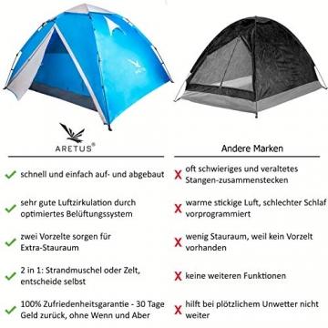 """Aretus- """"Eagle Tent"""" großes Pop Up Wurfzelt 2 3 4 Personen Zelt - mit Vorzelt - Wasserdicht 2 Fach Belüftet - UV-Schutz - Für Camping Festival mit 2 in 1 Funktion - 2"""