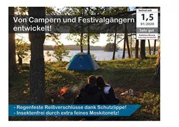 """Aretus- """"Eagle Tent"""" großes Pop Up Wurfzelt 2 3 4 Personen Zelt - mit Vorzelt - Wasserdicht 2 Fach Belüftet - UV-Schutz - Für Camping Festival mit 2 in 1 Funktion - 3"""