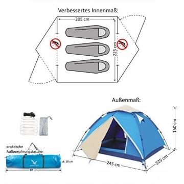 """Aretus- """"Eagle Tent"""" großes Pop Up Wurfzelt 2 3 4 Personen Zelt - mit Vorzelt - Wasserdicht 2 Fach Belüftet - UV-Schutz - Für Camping Festival mit 2 in 1 Funktion - 6"""