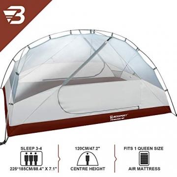 Bessport Ultraleicht Zelte 2-3 Personen, Winddicht &Wasserdicht PU 3000MM+, 3-4 Saison, Kuppelzelt Sofortiges Aufstellen für Trekking, Festival, Camping und Outdoor (3Person-Burgundy) - 2