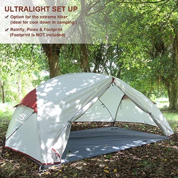 Bessport Ultraleicht Zelte 2-3 Personen, Winddicht &Wasserdicht PU 3000MM+, 3-4 Saison, Kuppelzelt Sofortiges Aufstellen für Trekking, Festival, Camping und Outdoor (3Person-Burgundy) - 5