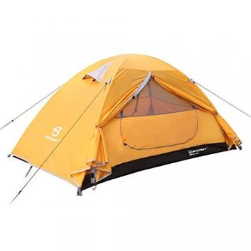 Bessport Zelt 2 Personen Ultraleichte Camping Zelt Wasserdicht 3-4 Saison Kuppelzelt Sofortiges Aufstellen für Trekking, Outdoor, Festival, mit kleinem Packmaß (Orange) - 2