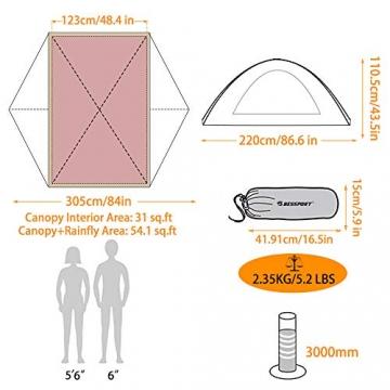 Bessport Zelt 2 Personen Ultraleichte Camping Zelt Wasserdicht 3-4 Saison Kuppelzelt Sofortiges Aufstellen für Trekking, Outdoor, Festival, mit kleinem Packmaß (Orange) - 6