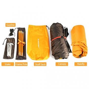 Bessport Zelt 2 Personen Ultraleichte Camping Zelt Wasserdicht 3-4 Saison Kuppelzelt Sofortiges Aufstellen für Trekking, Outdoor, Festival, mit kleinem Packmaß (Orange) - 9