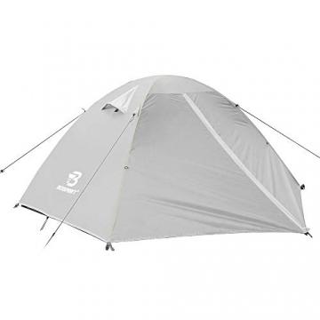 Bessport Zelt 2 Personen Ultraleichte Camping Zelte 3-4 Saison Kuppelzelt Kleines Packmaß, Wasserdicht PU 3000mm, Rucksack Zelt Einfach Sofortiges Aufstellen für Trekking, Outdoor, Festival (Grey) - 2