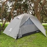 Bessport Zelt 2 Personen Ultraleichte Camping Zelte 3-4 Saison Kuppelzelt Kleines Packmaß, Wasserdicht PU 3000mm, Rucksack Zelt Einfach Sofortiges Aufstellen für Trekking, Outdoor, Festival (Grey) - 1