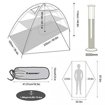 Bessport Zelt 2 Personen Ultraleichte Camping Zelte 3-4 Saison Kuppelzelt Kleines Packmaß, Wasserdicht PU 3000mm, Rucksack Zelt Einfach Sofortiges Aufstellen für Trekking, Outdoor, Festival (Grey) - 6