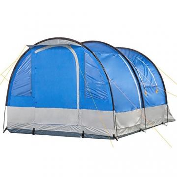 CampFeuer Campingzelt für 4 Personen   Großes Familienzelt mit 3 Eingängen und 2.000 mm Wassersäule   Tunnelzelt   blau/grau   Gruppenzelt   So Macht Camping Spaß! - 2