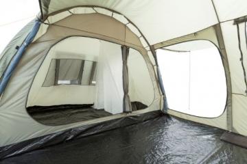 CampFeuer Campingzelt für 4 Personen | Großes Familienzelt mit 3 Eingängen und 5.000 mm Wassersäule | Tunnelzelt | olivgrün | Gruppenzelt | So Macht Camping Spaß! - 8