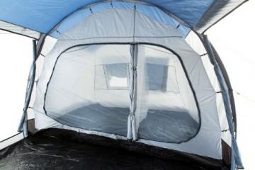 CampFeuer Campingzelt für 4 Personen | Großes Familienzelt mit 3 Eingängen und 5.000 mm Wassersäule | Tunnelzelt | blau/grau | Gruppenzelt | So Macht Camping Spaß! - 3
