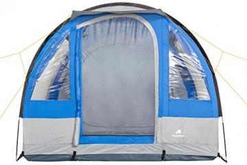 CampFeuer Campingzelt für 4 Personen   Großes Familienzelt mit 3 Eingängen und 2.000 mm Wassersäule   Tunnelzelt   blau/grau   Gruppenzelt   So Macht Camping Spaß! - 3
