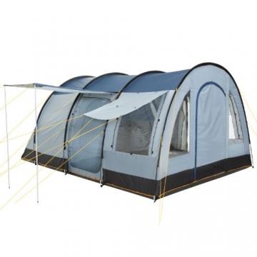 CampFeuer Campingzelt für 4 Personen | Großes Familienzelt mit 3 Eingängen und 5.000 mm Wassersäule | Tunnelzelt | blau/grau | Gruppenzelt | So Macht Camping Spaß! - 5