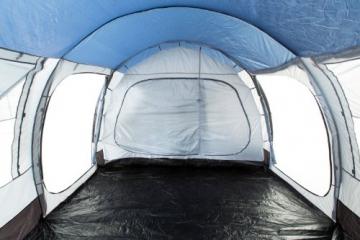 CampFeuer Campingzelt für 4 Personen | Großes Familienzelt mit 3 Eingängen und 5.000 mm Wassersäule | Tunnelzelt | blau/grau | Gruppenzelt | So Macht Camping Spaß! - 6