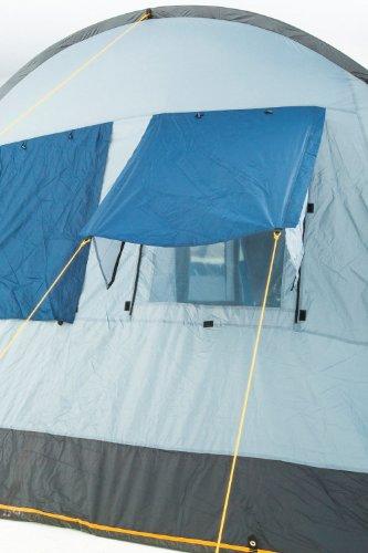 CampFeuer Campingzelt für 4 Personen | Großes Familienzelt mit 3 Eingängen und 5.000 mm Wassersäule | Tunnelzelt | blau/grau | Gruppenzelt | So Macht Camping Spaß! - 7