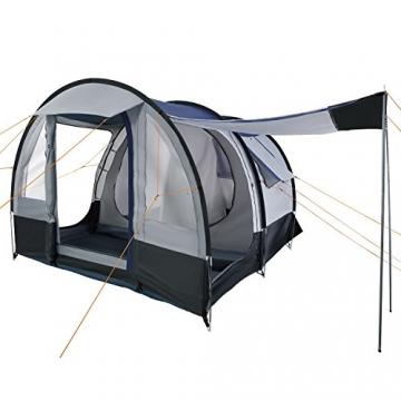 CampFeuer Campingzelt für 4 Personen | Großes Familienzelt mit 3 Eingängen und 2.000 mm Wassersäule | Tunnelzelt | schwarz/blau/grau | Gruppenzelt | So Macht Camping Spaß! - 1
