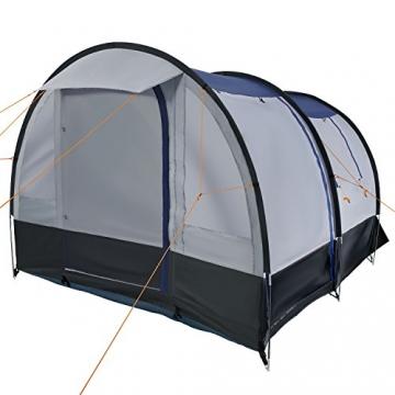 CampFeuer Campingzelt für 4 Personen | Großes Familienzelt mit 3 Eingängen und 2.000 mm Wassersäule | Tunnelzelt | schwarz/blau/grau | Gruppenzelt | So Macht Camping Spaß! - 4