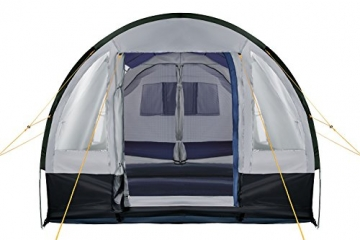 CampFeuer Campingzelt für 4 Personen | Großes Familienzelt mit 3 Eingängen und 2.000 mm Wassersäule | Tunnelzelt | schwarz/blau/grau | Gruppenzelt | So Macht Camping Spaß! - 5