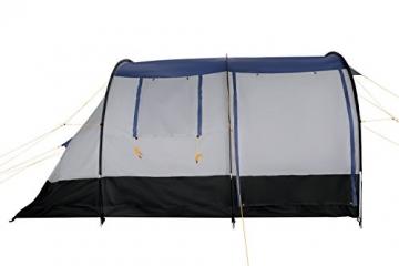 CampFeuer Campingzelt für 4 Personen | Großes Familienzelt mit 3 Eingängen und 2.000 mm Wassersäule | Tunnelzelt | schwarz/blau/grau | Gruppenzelt | So Macht Camping Spaß! - 8