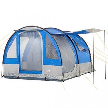 CampFeuer Campingzelt für 4 Personen   Großes Familienzelt mit 3 Eingängen und 2.000 mm Wassersäule   Tunnelzelt   blau/grau   Gruppenzelt   So Macht Camping Spaß! - 1
