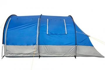 CampFeuer Campingzelt für 4 Personen   Großes Familienzelt mit 3 Eingängen und 2.000 mm Wassersäule   Tunnelzelt   blau/grau   Gruppenzelt   So Macht Camping Spaß! - 6