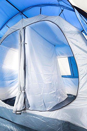 CampFeuer Campingzelt für 4 Personen   Großes Familienzelt mit 3 Eingängen und 2.000 mm Wassersäule   Tunnelzelt   blau/grau   Gruppenzelt   So Macht Camping Spaß! - 9