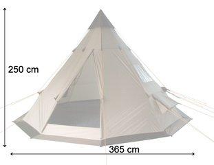 CampFeuer - Tipi Zelt (Teepee), 365 x 365 x 250 cm, grau, Indianerzelt, Camping Pyramidenzelt, - 6