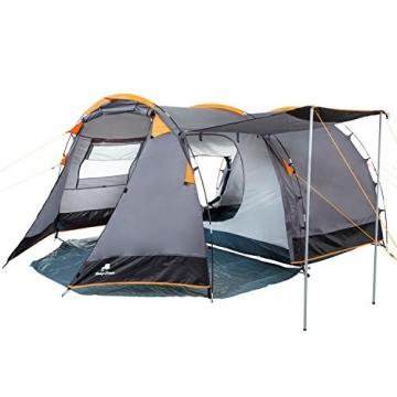 CampFeuer Tunnelzelt für 4 Personen | Großes Familienzelt mit 2 Eingängen und 3.000 mm Wassersäule | Gruppenzelt | grau | Campingzelt | So Macht Camping Spaß! - 6