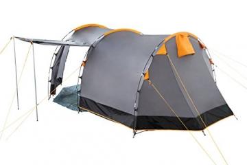 CampFeuer Tunnelzelt für 4 Personen | Großes Familienzelt mit 2 Eingängen und 3.000 mm Wassersäule | Gruppenzelt | grau | Campingzelt | So Macht Camping Spaß! - 7