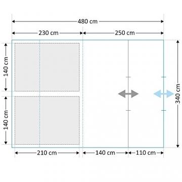 CAMPFEUER Tunnelzelt für 4 Personen mit 5000 mm Wassersäule, Preis-Leistungssieger im Vergleich, Familienzelt mit Bodenplane zum Auslegen und versetzbarer Eingangswand, blau / sand - 5