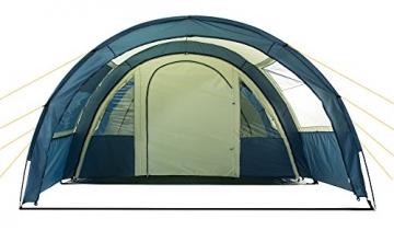 CAMPFEUER Tunnelzelt für 4 Personen mit 5000 mm Wassersäule, Preis-Leistungssieger im Vergleich, Familienzelt mit Bodenplane zum Auslegen und versetzbarer Eingangswand, blau / sand - 7