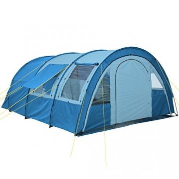CampFeuer - Tunnelzelt mit 2 Schlafkabinen, blau/hellblau, 5000 mm Wassersäule, mit Bodenplane und versetzbarer Vorderwand - 3