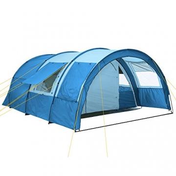 CampFeuer - Tunnelzelt mit 2 Schlafkabinen, blau/hellblau, 5000 mm Wassersäule, mit Bodenplane und versetzbarer Vorderwand - 1