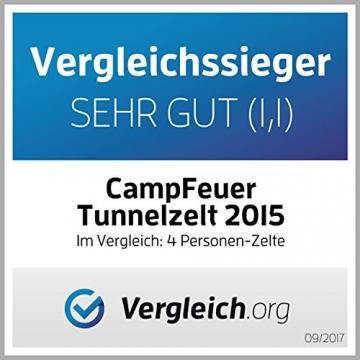 CampFeuer - Tunnelzelt mit 2 Schlafkabinen, blau/hellblau, 5000 mm Wassersäule, mit Bodenplane und versetzbarer Vorderwand - 7