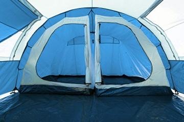 CampFeuer - Tunnelzelt mit 2 Schlafkabinen, blau/hellblau, 5000 mm Wassersäule, mit Bodenplane und versetzbarer Vorderwand - 8