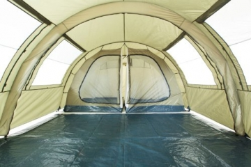 CampFeuer Tunnelzelt mit 2 Schlafkabinen, olivgrün, 5000 mm Wassersäule, mit Bodenplane und versetzbarer Vorderwand - 3
