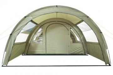 CampFeuer Tunnelzelt mit 2 Schlafkabinen, olivgrün, 5000 mm Wassersäule, mit Bodenplane und versetzbarer Vorderwand - 4