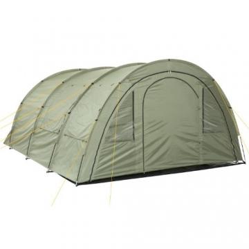 CampFeuer Tunnelzelt mit 2 Schlafkabinen, olivgrün, 5000 mm Wassersäule, mit Bodenplane und versetzbarer Vorderwand - 5
