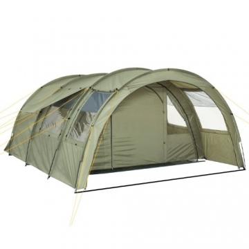 CampFeuer Tunnelzelt mit 2 Schlafkabinen, olivgrün, 5000 mm Wassersäule, mit Bodenplane und versetzbarer Vorderwand - 8