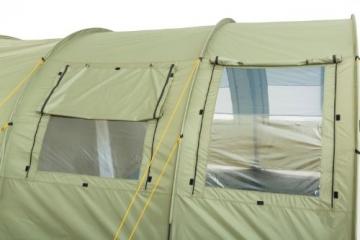 CampFeuer Tunnelzelt mit 2 Schlafkabinen, olivgrün, 5000 mm Wassersäule, mit Bodenplane und versetzbarer Vorderwand - 9