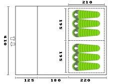 CampFeuer - XXL Tunnelzelt, 2 Kabinen, 6 Personen, grün-grau, 5000 mm WS - 8