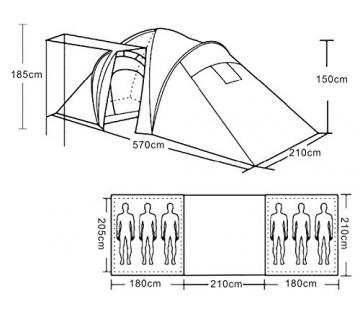 Campingzelt Loksa, 6-Mann Zelt Kuppelzelt Igluzelt Festival-Zelt, 6 Personen ~ orange - 9