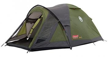 Coleman Darwin 3+ Zelt, 3 Personen, 3 Mann Zelt, Igluzelt, Festivalzelt, Leichtes Kuppelzelt mit Vorzelt, Wasserdicht WS 3.000 mm - 1