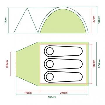 Coleman Darwin 3+ Zelt, 3 Personen, 3 Mann Zelt, Igluzelt, Festivalzelt, Leichtes Kuppelzelt mit Vorzelt, Wasserdicht WS 3.000 mm - 5