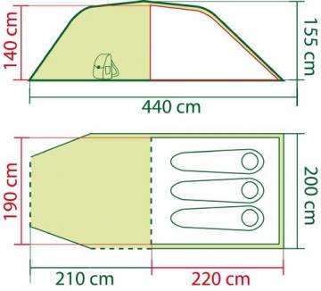 Coleman Zelt Coastline 3 Plus, 3 Mann Zelt, 3 Personen Tunnelzelt, wasserdicht WS 3.000mm - 4