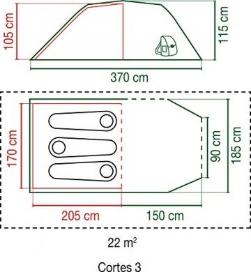 Coleman Zelt Cortes 3 Personen, 3 Mann Zelt, Tunnelzelt, Festivalzelt, leichtes Trekkingzelt mit Vorzelt, wasserdicht WS 2.000mm - 3