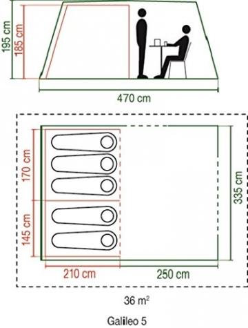 Coleman Zelt Galileo 5, 5 Mann Zelt, 5 Personen Tunnelzelt, Campingzelt, Familienzelt mit Vorzelt, wasserdicht WS 3.000mm - 2