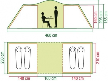 Coleman Zelt Ridgeline 4 Plus, 4 Mann Zelt, 4 Personen Vis-A-Vis Tunnelzelt, Campingzelt, Kuppelzelt mit Sonnendach, wasserdicht WS 4.000mm - 7
