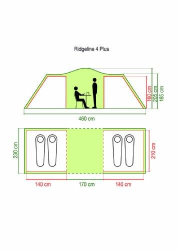 Coleman Zelt Ridgeline 4 Plus, 4 Mann Zelt, 4 Personen Vis-A-Vis Tunnelzelt, Campingzelt, Kuppelzelt mit Sonnendach, wasserdicht WS 4.000mm - 8