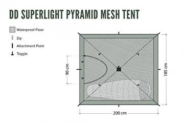 DD hammocks Pyramidenzelt, Innenzelt Moskitonetz, superleicht - 2