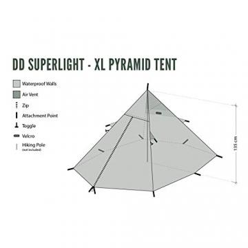 DD superleichtes Pyramidenzelt XL extra groß olivgrün - Zweimannzelt, Aussenzelt ohne Zeltboden - 8